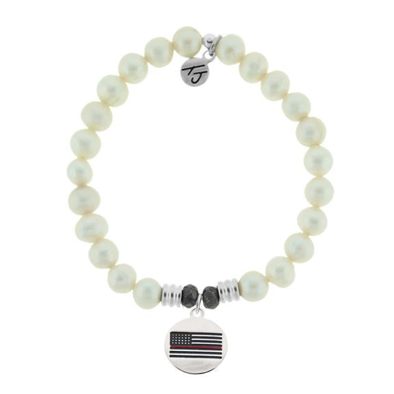 White Pearl Stone Bracelet with Firefighter Sterling Silver Charm