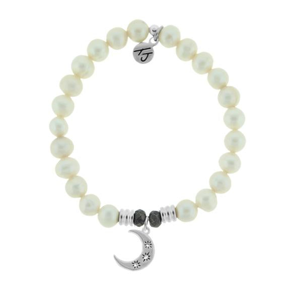 White Pearl Stone Bracelet with Friendship Stars Sterling Silver Charm