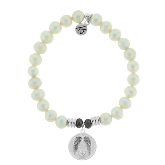 White Pearl Stone Bracelet with Guardian Sterling Silver Charm
