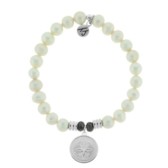 White Pearl Stone Bracelet with Guidance Sterling Silver Charm