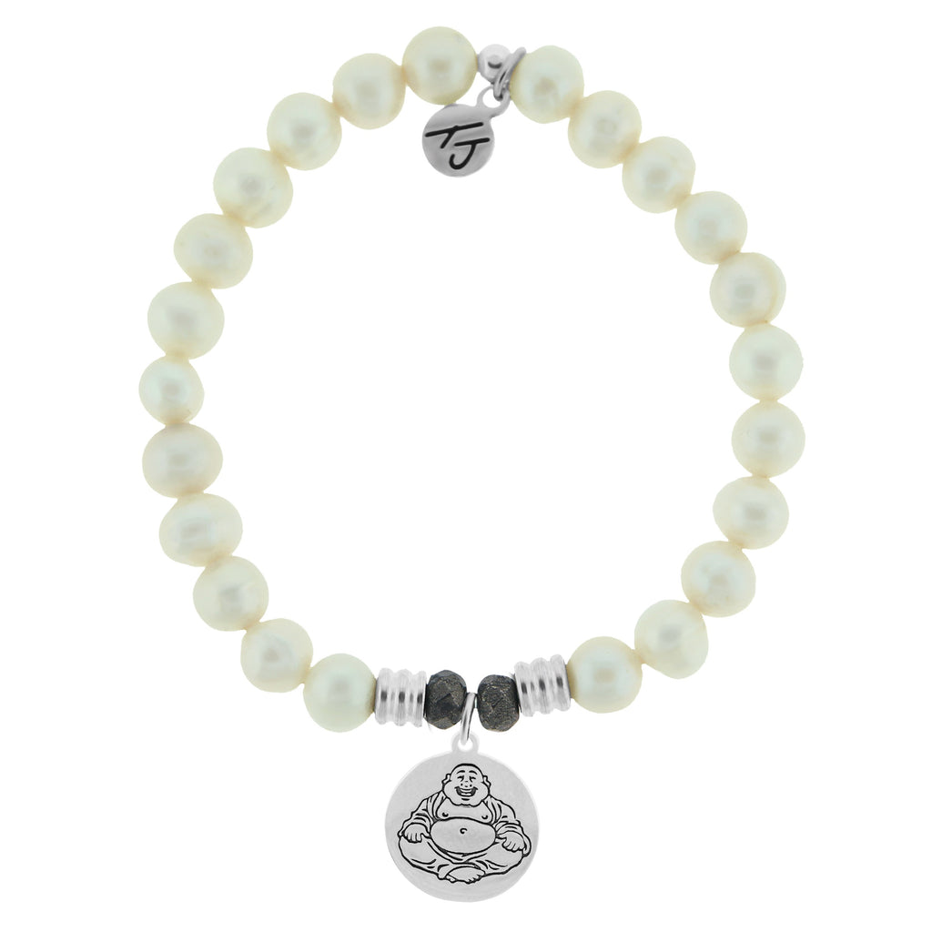 White Pearl Stone Bracelet with Happy Buddha Sterling Silver Charm