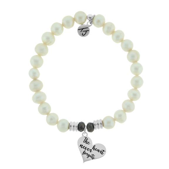 White Pearl Stone Bracelet with Heart Never Forgets Sterling Silver Charm