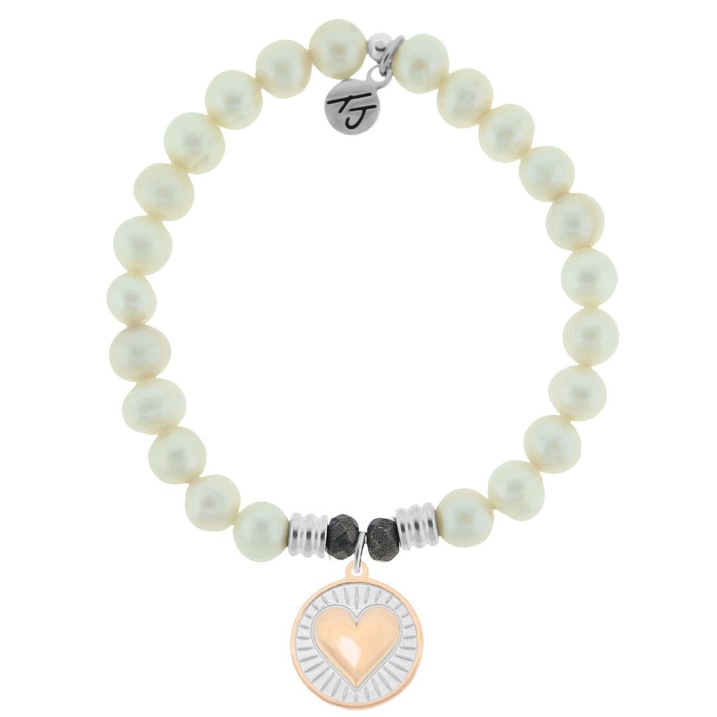 White Pearl Stone Bracelet with Heart of Gold Sterling Silver Charm