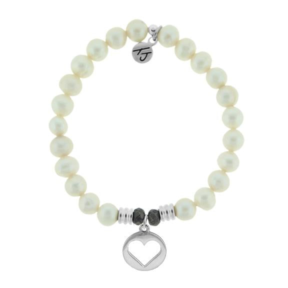 White Pearl Stone Bracelet with Heart Sterling Silver Charm