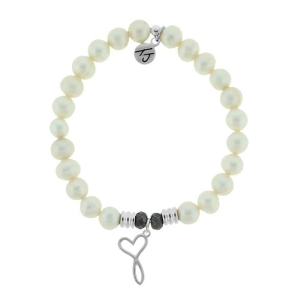 White Pearl Stone Bracelet with Infinity Heart Sterling Silver Charm