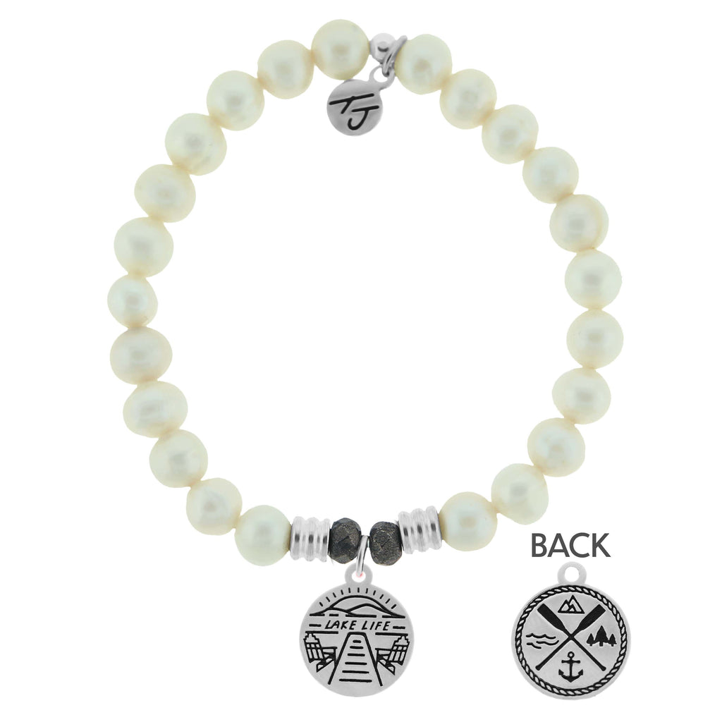 White Pearl Stone Bracelet with Lake Life Sterling Silver Charm