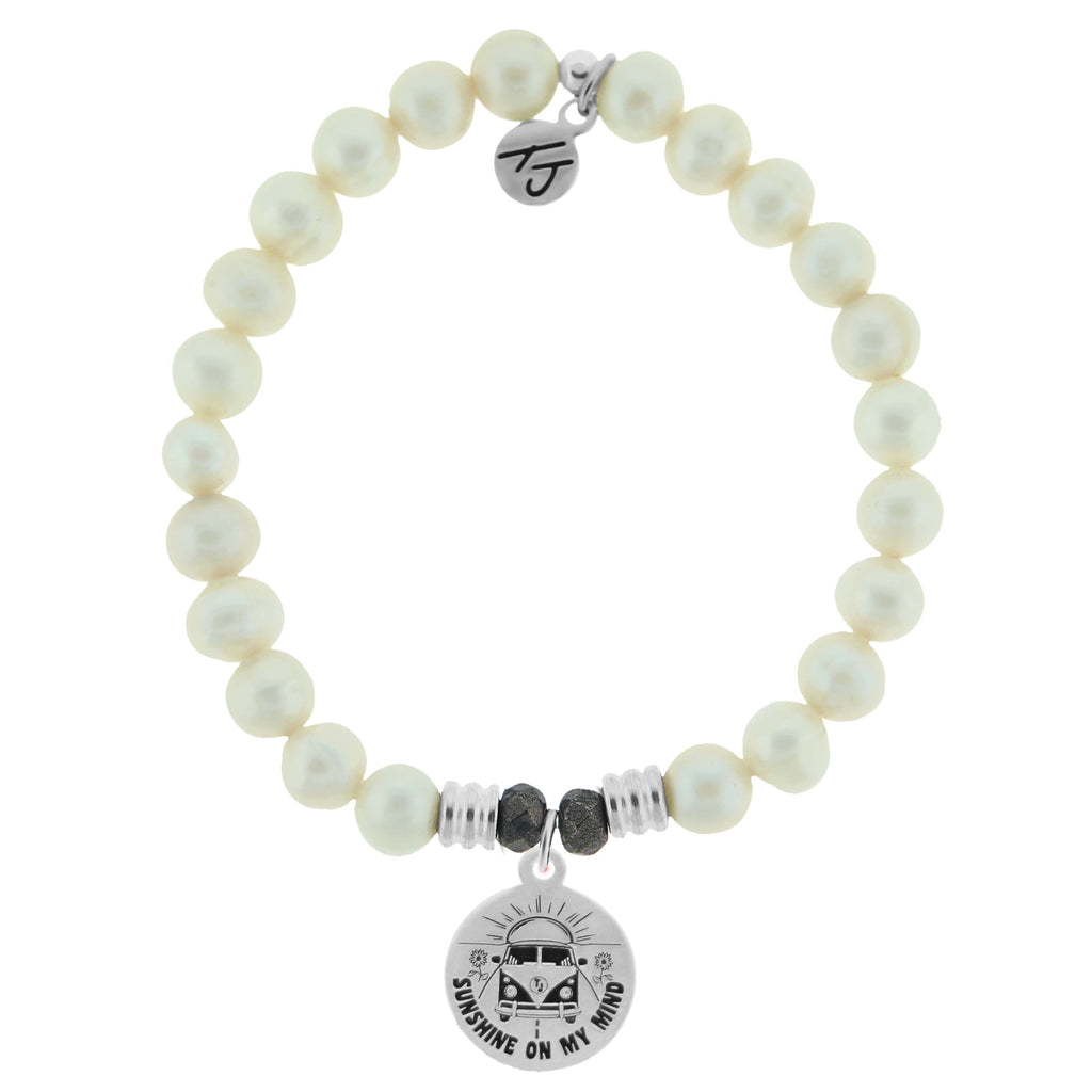 White Pearl Stone Bracelet with Life's a Journey Sterling Silver Charm
