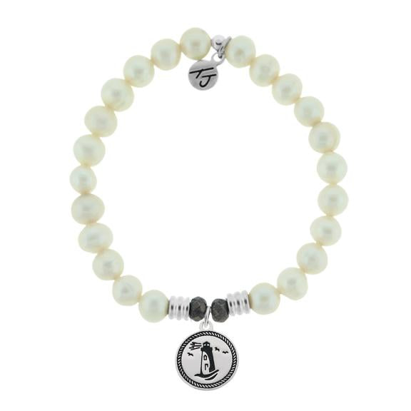 White Pearl Stone Bracelet with Lighthouse Sterling Silver Charm