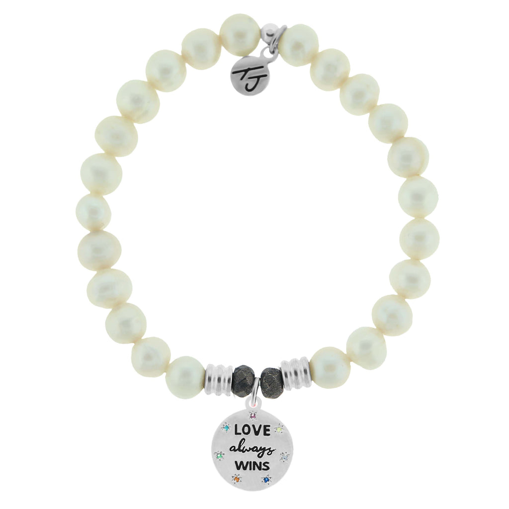 White Pearl Stone Bracelet with Love Always Wins Sterling Silver Charm