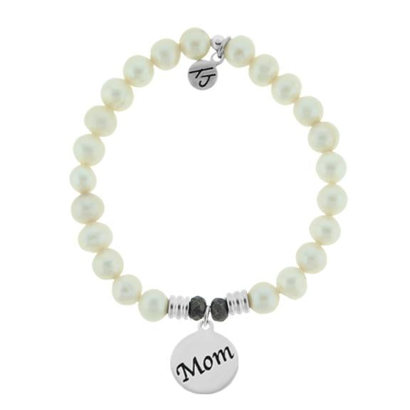 White Pearl Stone Bracelet with Mom Endless Love Sterling Silver Charm