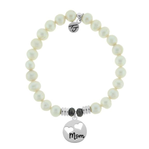 White Pearl Stone Bracelet with Mom... Sterling Silver Charm
