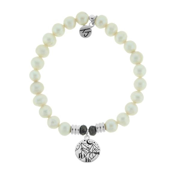 White Pearl Stone Bracelet with Mountain Sterling Silver Charm