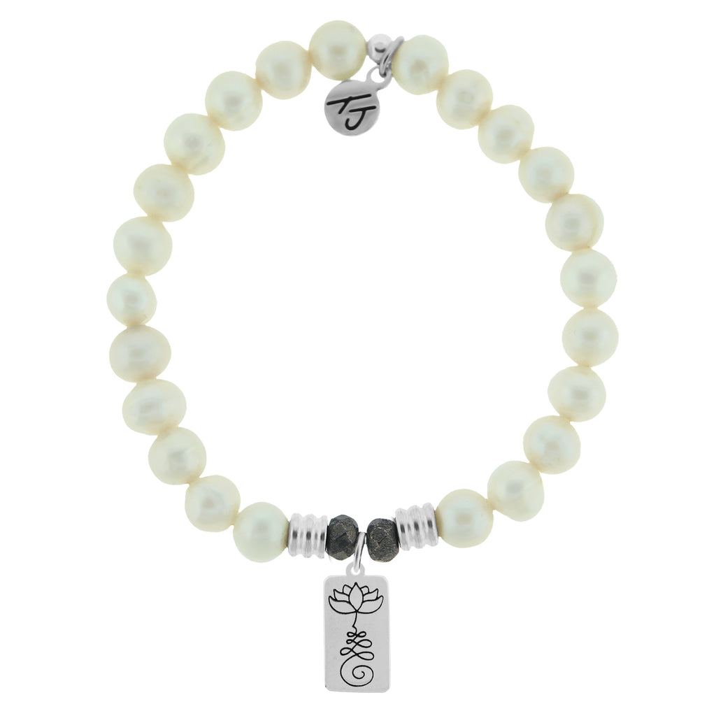 White Pearl Stone Bracelet with New Beginnings Sterling Silver Charm