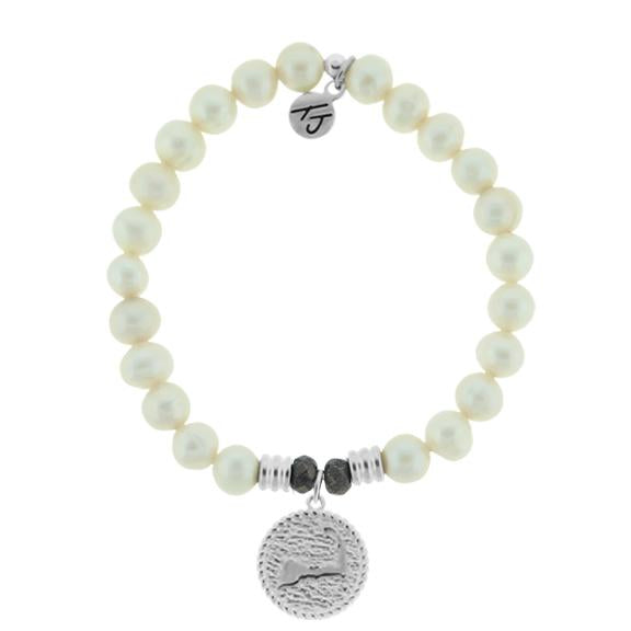 White Pearl Stone Bracelet with New Cape Cod Sterling Silver Charm