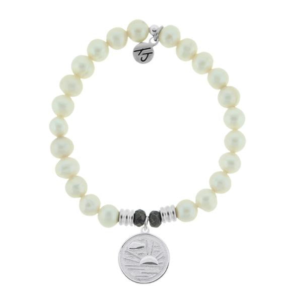 White Pearl Stone Bracelet with New Day Sterling Silver Charm