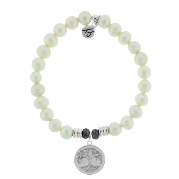 White Pearl Stone Bracelet with New Tree of Life Sterling Silver Charm