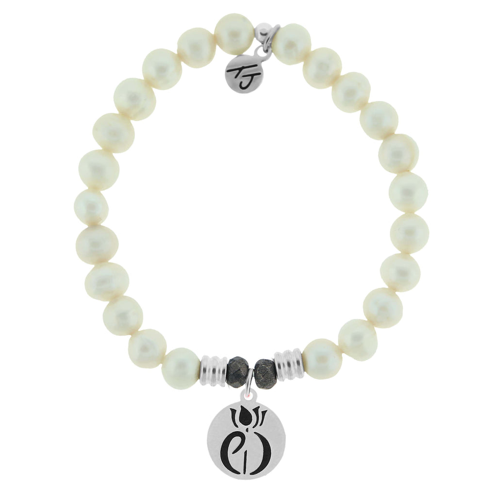 White Pearl Stone Bracelet with Parkinsons Sterling Silver Charm