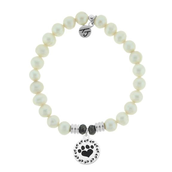 White Pearl Stone Bracelet with Paw Print Sterling Silver Charm