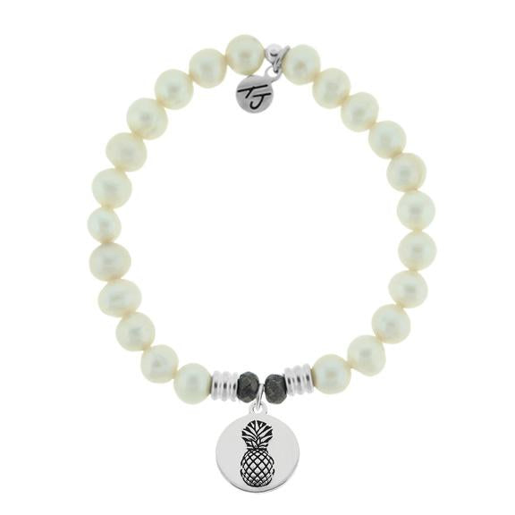 White Pearl Stone Bracelet with Pineapple Sterling Silver Charm
