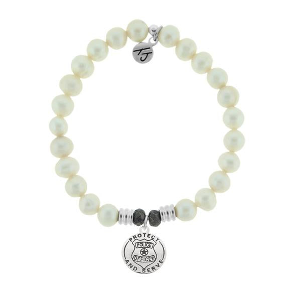 White Pearl Stone Bracelet with Police Sterling Silver Charm