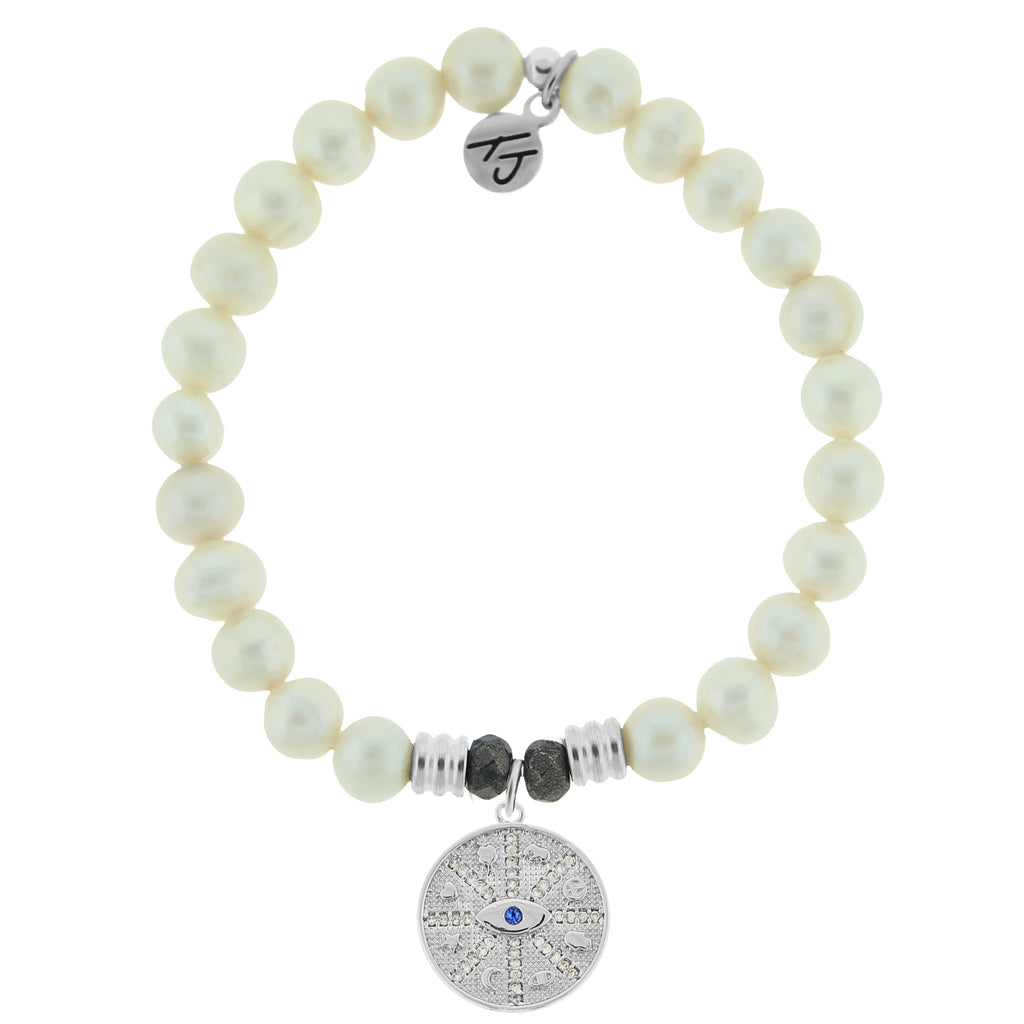 White Pearl Stone Bracelet with Protection Sterling Silver Charm