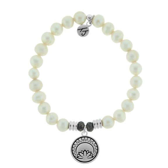 White Pearl Stone Bracelet with Rise Above Sterling Silver Charm