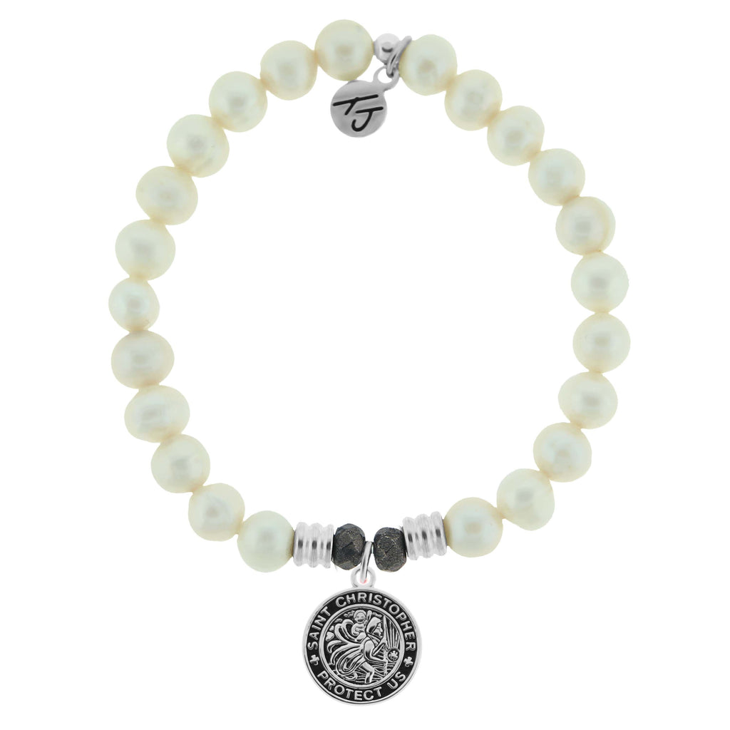 White Pearl Stone Bracelet with New Saint Christopher Sterling Silver Charm