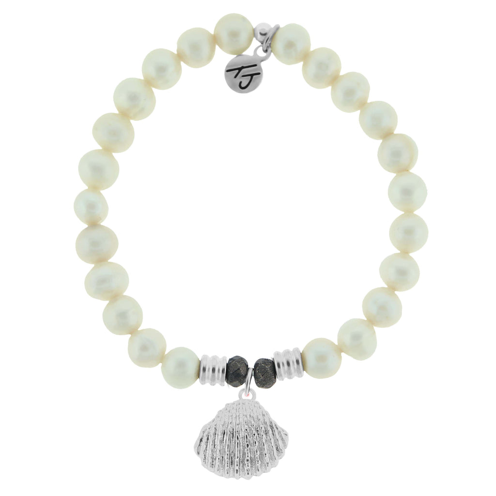 White Pearl Stone Bracelet with Seashell Sterling Silver Charm
