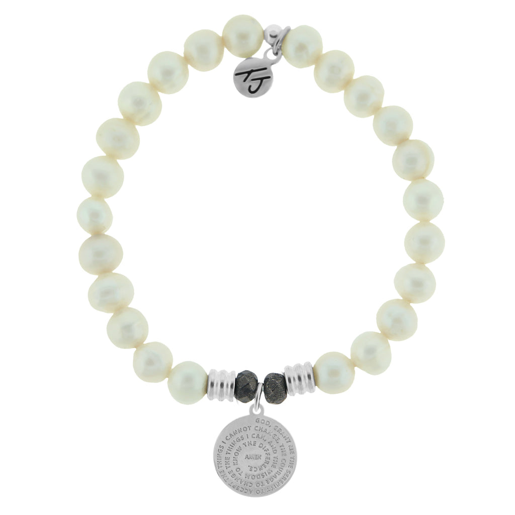 White Pearl Stone Bracelet with Serenity Prayer Sterling Silver Charm