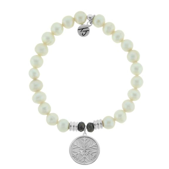 White Pearl Stone Bracelet with Snowflake Sterling Silver Charm