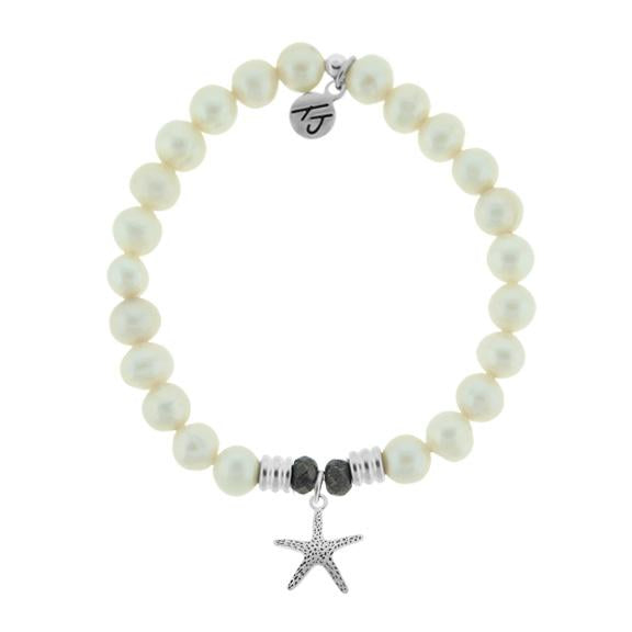 White Pearl Stone Bracelet with Starfish Sterling Silver Charm