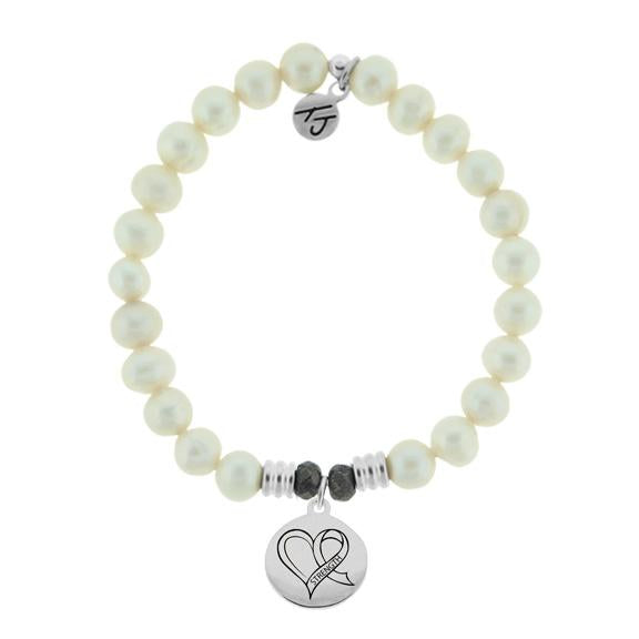White Pearl Stone Bracelet with Strength Heart Sterling Silver Charm