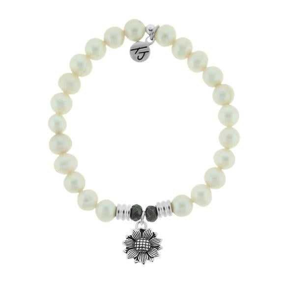 White Pearl Stone Bracelet with Sunflower Sterling Silver Charm
