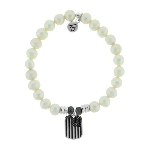 White Pearl Stone Bracelet with Support Our Troops Sterling Silver Charm