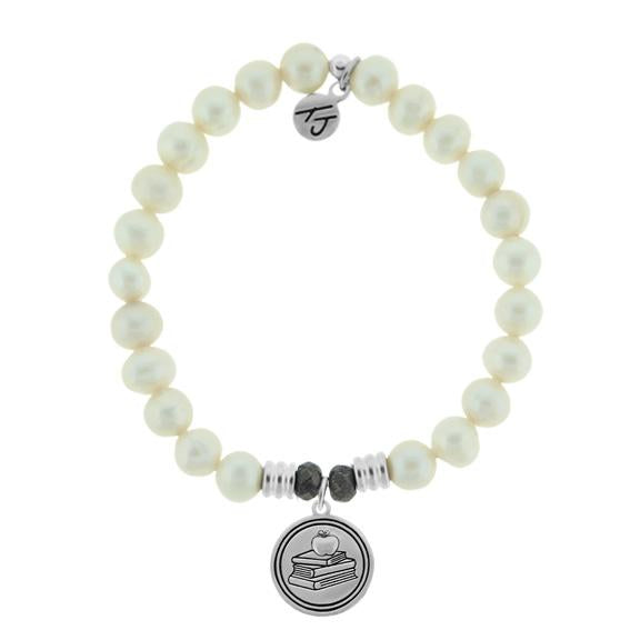 White Pearl Stone Bracelet with Teacher Sterling Silver Charm
