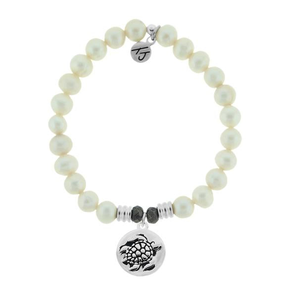 White Pearl Stone Bracelet with Turtle Sterling Silver Charm