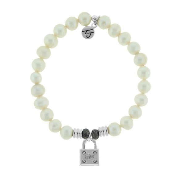 White Pearl Stone Bracelet with Unbreakable Sterling Silver Charm