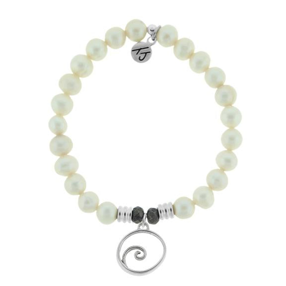 White Pearl Stone Bracelet with Wave Sterling Silver Charm