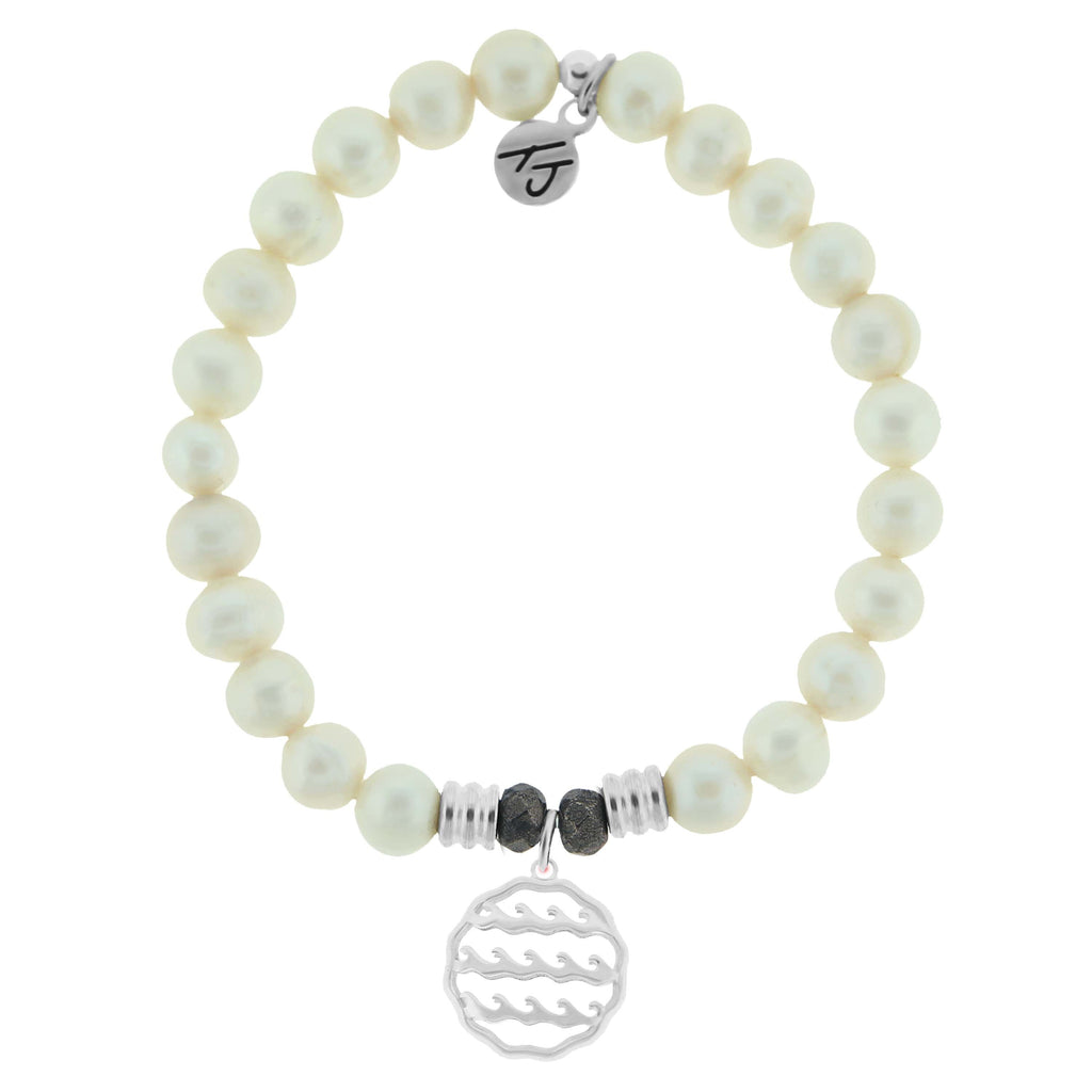 White Pearl Stone Bracelet with Waves of Life Sterling Silver Charm