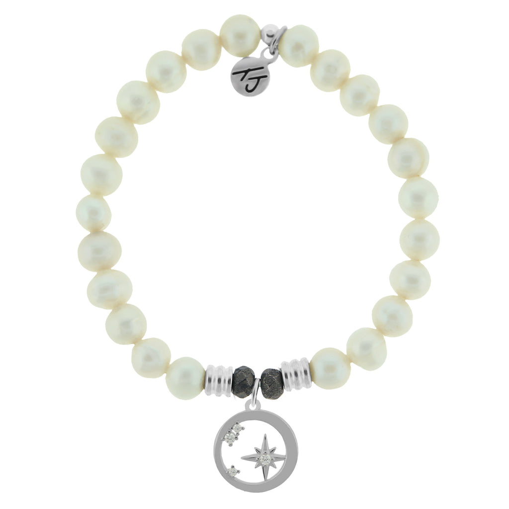 White Pearl Stone Bracelet with What is Meant to Be Sterling Silver Charm