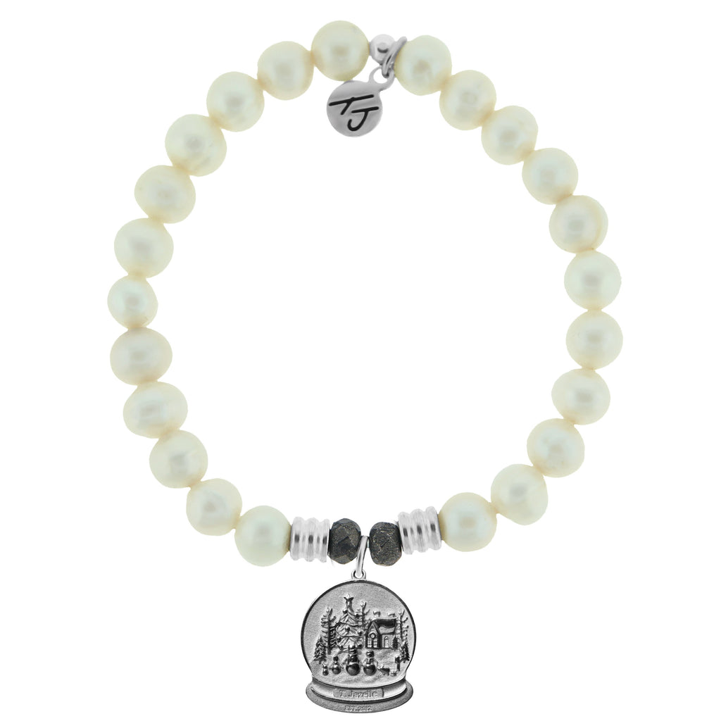 White Pearl Stone Bracelet with Winter Wonderland Sterling Silver Charm