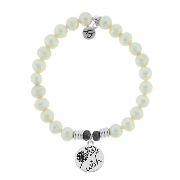 White Pearl Stone Bracelet with Wish Sterling Silver Charm