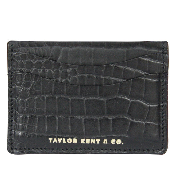 Taylor Kent & Co Bridle Leather Credit Card Holders in Black Croc Print
