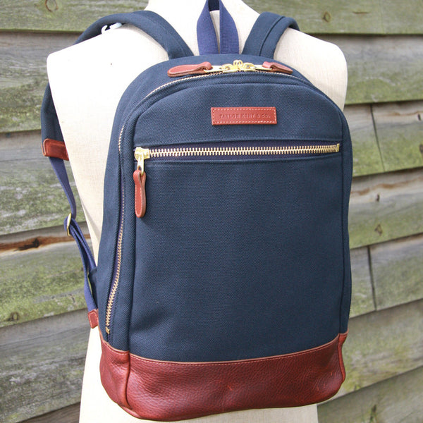 Taylor Kent Canvas Backpack in Navy
