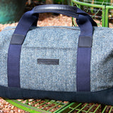 Taylor Kent Tweed Holdall in Blue with Navy Leather