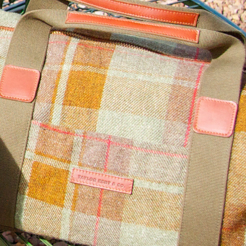 Taylor Kent Tweed Holdall in Green Check with Tan Leather