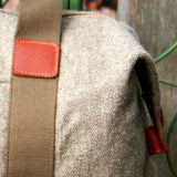 Taylor Kent Tweed Holdall in Khaki with Tan Leather Detail 1