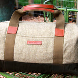 Taylor Kent Tweed Holdall in Khaki with Tan Leather