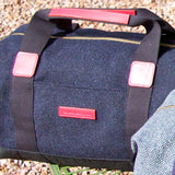 Taylor Kent Tweed Holdall in Navy with Red Leather