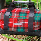 Taylor Kent Tweed Holdall in Red Check with Black Leather